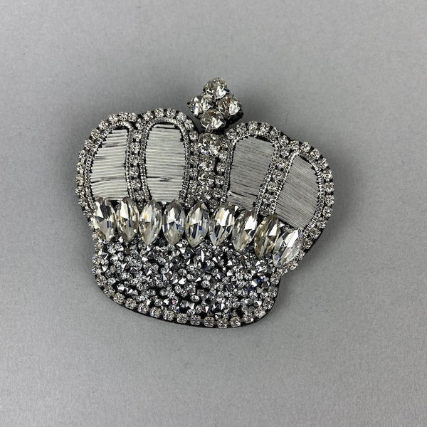 Diamante Silver Crown Brooch