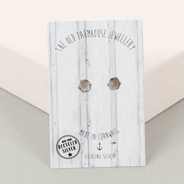 Recycled Silver Mini Studs - Hexagon