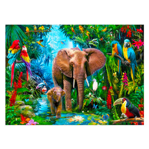 FULLY BEADED! ELEPHANTS IN THE JUNGLE 60*40cm