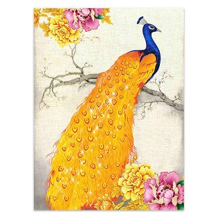 FULLY BEADED! GOLDEN PEACOCK ON BRANCH 40*60cm