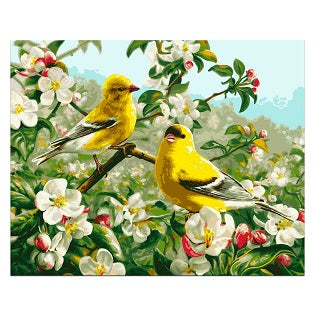 FULLY BEADED! YELLOW BIRDS AMONG WHITE FLOWERS 40*50cm