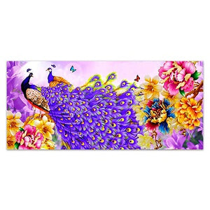 FULLY BEADED! PURPLE PEACOCK PAIR 45*100cm