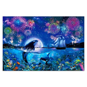 FULLY BEADED! ORCAS AND FIREWORKS 50*70cm