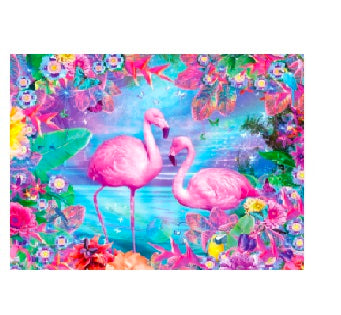 FULLY BEADED! RIVER FLAMINGOS 40*50cm