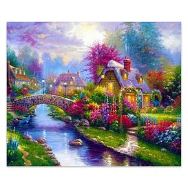 FULLY BEADED! DREAMLIKE CANAL COTTAGES 58*48cm