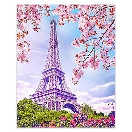 FULLY BEADED! BLOSSOMS BY THE EIFFEL TOWER 40*50cm