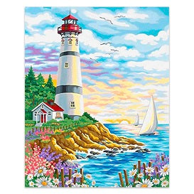 FULLY BEADED! LIGHTHOUSE AND SAILS 40*50cm