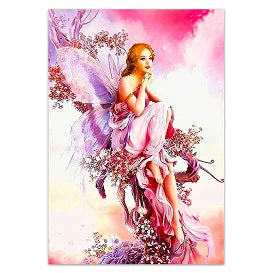 FULLY BEADED! PINK FAIRY WITH FLOWERS 50*65cm