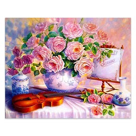 FULLY BEADED! ROSES AND VIOLIN 40*50cm