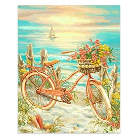FULLY BEADED! BICYCLE BY THE OCEAN 40*50cm