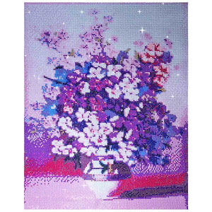 FINISHED DESIGN! PURPLE DAISIES IN VASE 40*50cm