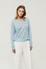 Super Fine Linen Sweater Lali Swipe Ice Blue
