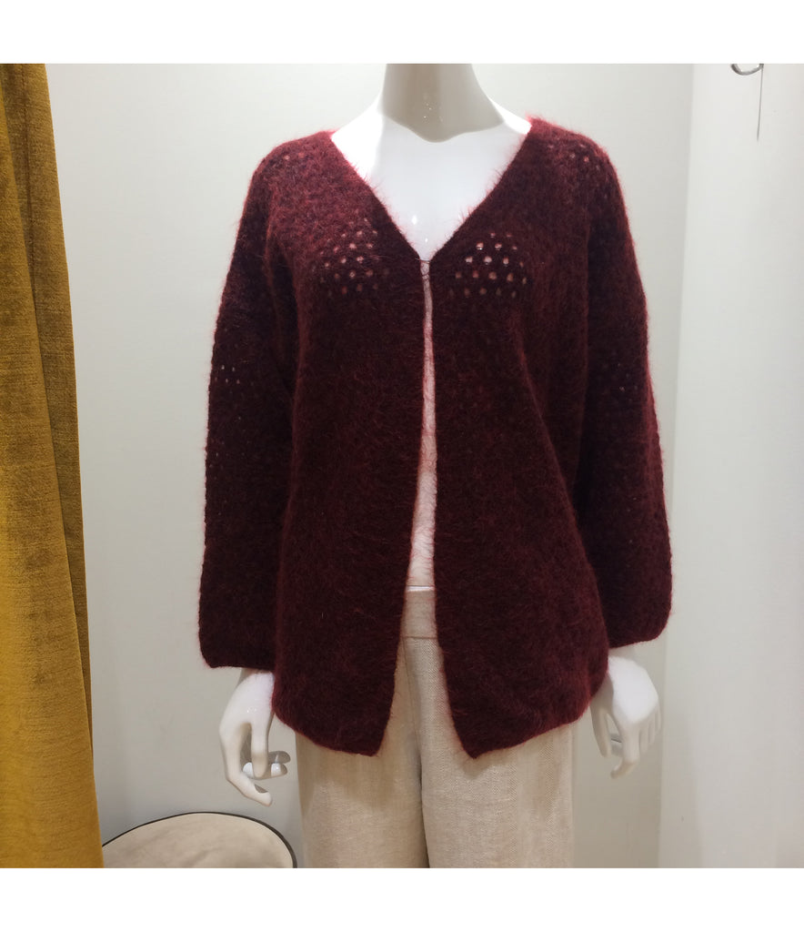 Cardigan Kid Mohair Bibi Nido Bordeaux