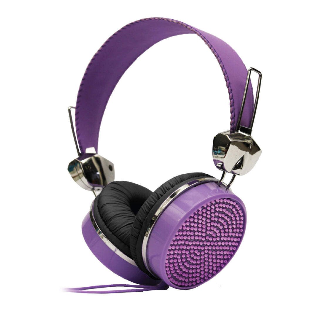 Gem Sound Purple Bling On Ear Wired Headphones
