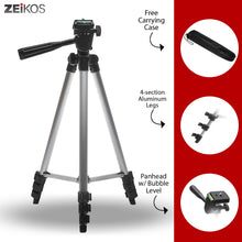Load image into Gallery viewer, Zeikos | 57 Inch Full Size Photo/Video Tripod Includes Deluxe Carrying Case Can be Used with Camcorders and Digital Cameras