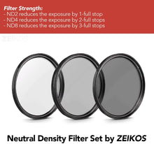 Load image into Gallery viewer, Zeikos | Neutral Density Professional Photography Filter Set (ND2 ND4 ND8)