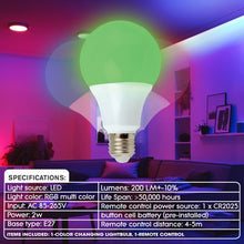 Load image into Gallery viewer, iHip Multi Color Changing LED Light Up Bulb with Remote Control more than 16 Different Color Choices Smooth, Flash or Strobe Mode- Premium Quality & Energy Saving 50,000 Hour LED Bulb