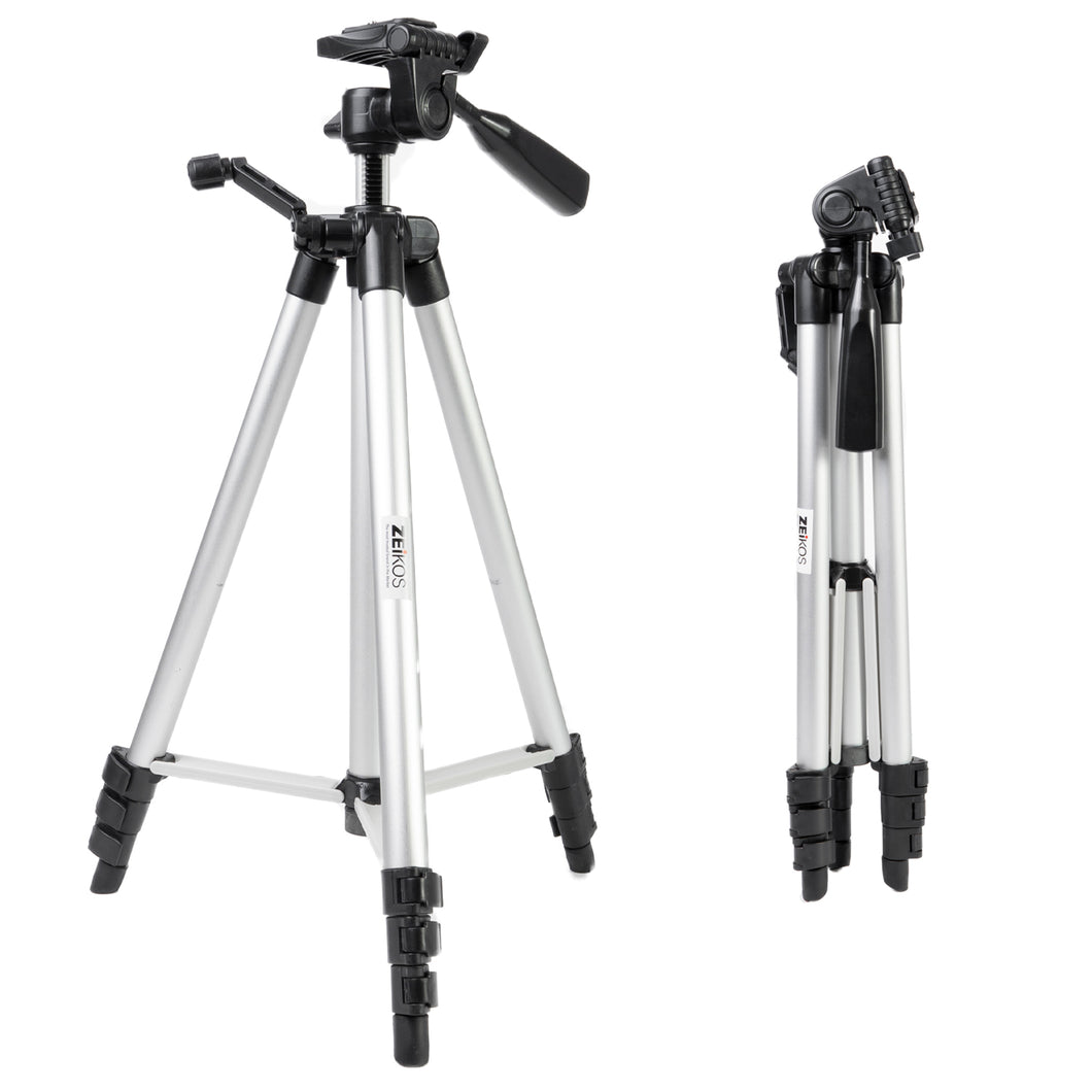 Zeikos | 57 Inch Full Size Photo/Video Tripod Includes Deluxe Carrying Case Can be Used with Camcorders and Digital Cameras