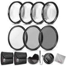 Load image into Gallery viewer, Zeikos 67MM Neutral Density Filter Set (ND2 ND4 ND8), Macro Close-Up Filter Set (+1 +2 +4 +10), Tulip Flower Lens Hood, Lens Cap and Lens Cap Keeper with Pouch and Microfiber Cloth