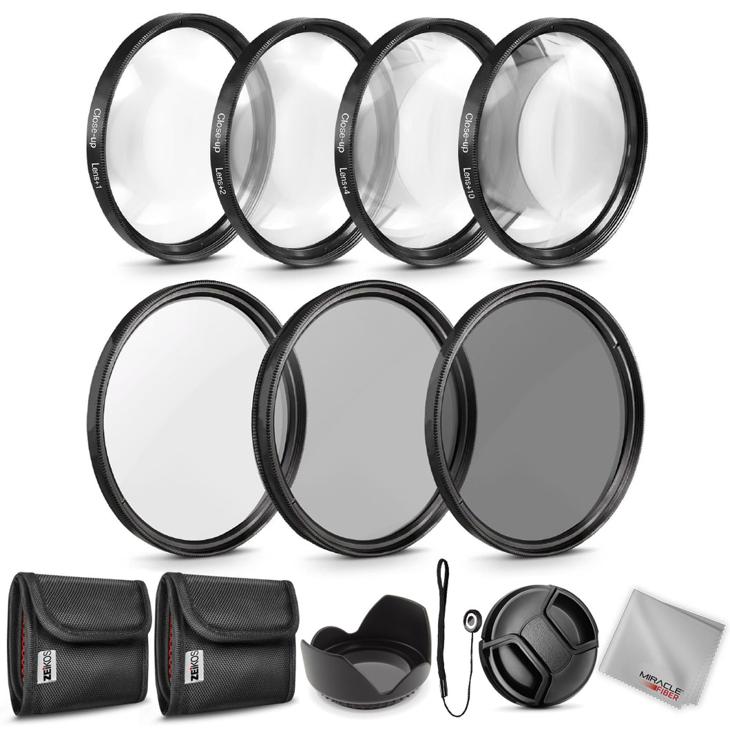 Zeikos 67MM Neutral Density Filter Set (ND2 ND4 ND8), Macro Close-Up Filter Set (+1 +2 +4 +10), Tulip Flower Lens Hood, Lens Cap and Lens Cap Keeper with Pouch and Microfiber Cloth