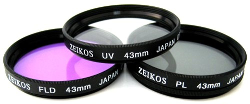 Zeikos 43mm Multi-Coated 3-piece Glass Filter Set (UV, Fluorescent, Circular Polarizer) For Canon Vixia HF R80, HF R82, HF R800, HF R70, HF R72, HF R700, HFM40, HFM41, HFM52, HFM400 & HFM500 Camcorder
