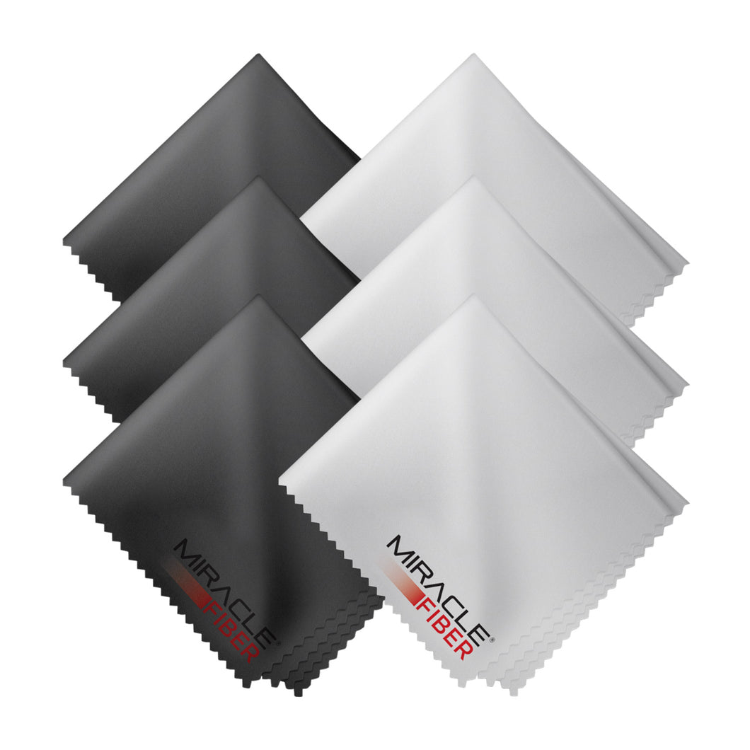 Miracle Fiber Microfiber Cleaning Cloths (6 Pack- 3 Black & 3 Grey)