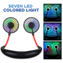 Load image into Gallery viewer, iHip Mini Air Wireless Earbuds Headphone with Portable Hanging Neck Fan, Personal Fan, Around Neck Fan, Rechargeable Wearable Mini USB 2000mAh Fans, 3 Speed Color LED Light 360 Degree Adjustment Head Suitable for Office, Outdoor, Sports (Black)