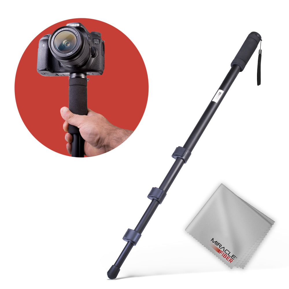 Zeikos 67 Inch Camera Monopod Bundle for Canon, Nikon, Sony, Samsung, Olympus, Panasonic, Pentax, and All Digital Cameras, Includes Miracle Fiber Microfiber Cleaning Cloth and Carrying Bag - iHip