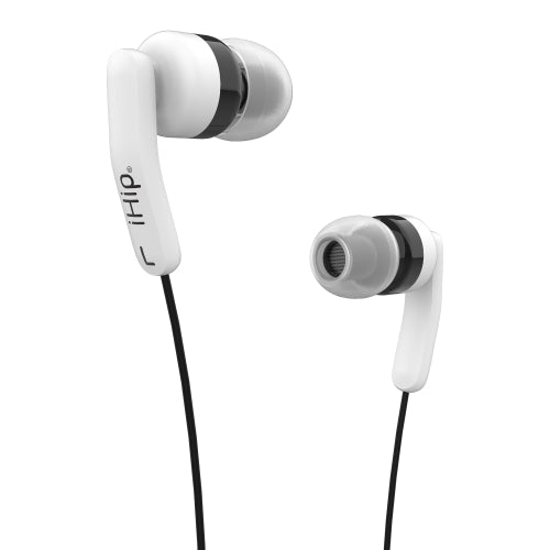 iHip Fashionable Soft Cord Built in Mic Earbuds, Wired in-Ear Headphones with Tangle-Free Cord, Noise Isolating, Bass Driven Sound, Ear Bud Tips- Black & White - iHip