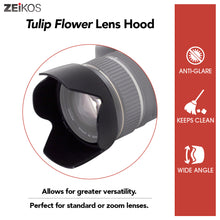 Load image into Gallery viewer, Zeikos 58MM Tulip Flower Lens Hood for Nikon, Canon, Sony, Sigma and Tamron Lenses, Comes with a Miracle Fiber Microfiber Cloth
