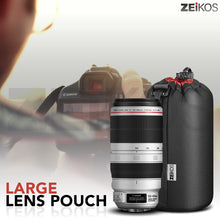 Load image into Gallery viewer, Zeikos Lens Case, Large Size, Thick Protective Neoprene Pouch for DSLR Camera Lens (Canon, Nikon, Pentax, Sony, Olympus, Panasonic) + Free MiracleFiber Cleaning Cloth