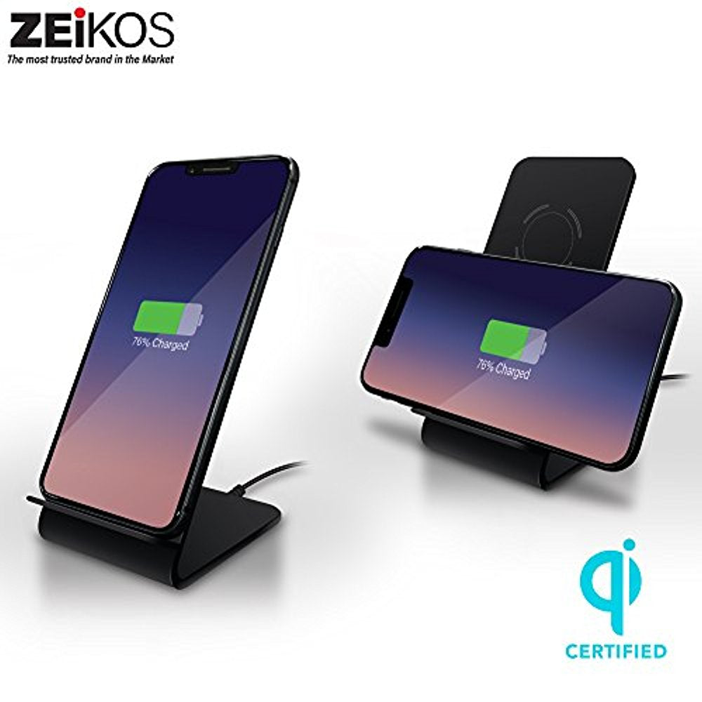 Zeikos 10W Fast Wireless Charger Charging Pad Stand Wireless Charger for Galaxy S9/S9 Plus Note 8/5 S8/S8 Plus S7/S7 Edge S6 Edge Plus, 5W Standard Charge for iPhone X/8/8 Plus