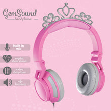 Load image into Gallery viewer, Gem Sound Tiara Pink On Ear Wired Headphones