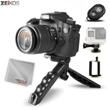 Load image into Gallery viewer, Zeikos Mini Tripod Tabletop Stand w/Soft Pistol Grip Set, Comes with Bluetooth Remote Control Camera Shutter, Smartphone - GoPro Mount, and Miracle Fiber Cloth