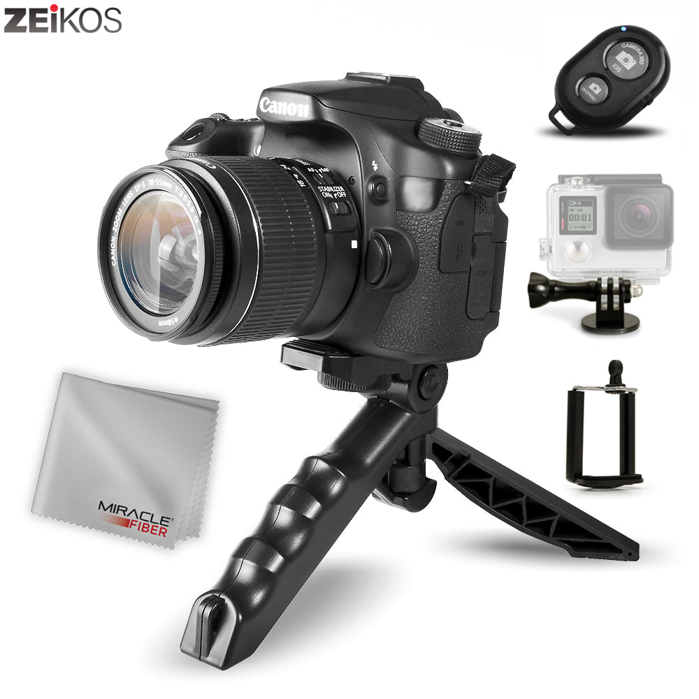 Zeikos Mini Tripod Tabletop Stand w/Soft Pistol Grip Set, Comes with Bluetooth Remote Control Camera Shutter, Smartphone - GoPro Mount, and Miracle Fiber Cloth