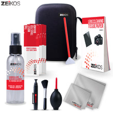 Load image into Gallery viewer, Zeikos Professional Camera Cleaning Kit, Includes Air Blower, Lens Cleaning Pen, Lens Brush, 6-Swabs,1-6X7 and 1-16X16 Miracle Cloth, 50 Sheets Tissue, 2oz Lens Cleaning Spray and Hard Case, 14 Piece