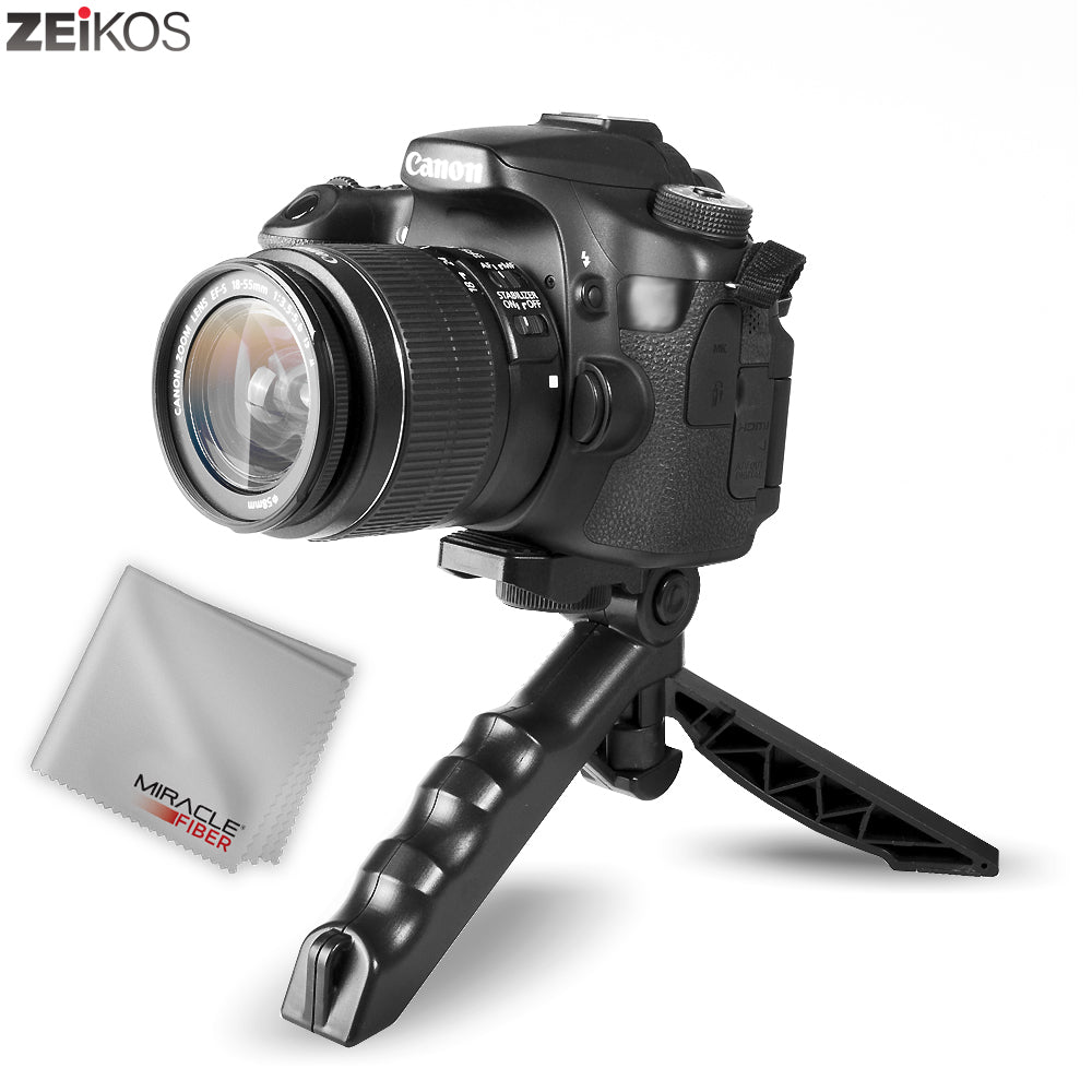 Zeikos Mini Tripod Tabletop Stand w/Soft Pistol Grip, Stable and Secure Camera Plateform, for DSLR, Audio Recorder and Video, Comes with Miracle Fiber Cloth - iHip