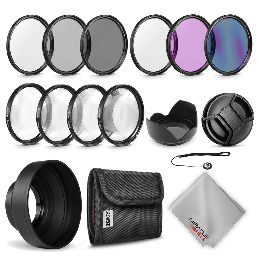 Zeikos 58MM Multi-Coated UV-CPL-FLD-ND2-ND4-ND8 Professional Lens Filter Kit, Macro Close-Up Filter Set (+1 +2 +4 +10), Lens Cap and Lens Cap Keeper with Pouch and Microfiber Cloth
