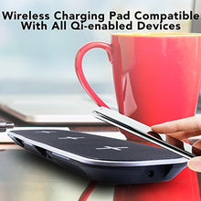 Load image into Gallery viewer, ZEIKOS 5W Wireless Charging Pad Compatible with all Qi-enabled devices - iPhone X,10,8 Plus,8, Samsung Galaxy S9 S9 Plus Note 8 S8 S8 Plus S7 S7 Edge S6 S6 Edge Note 5 & dual USB ports