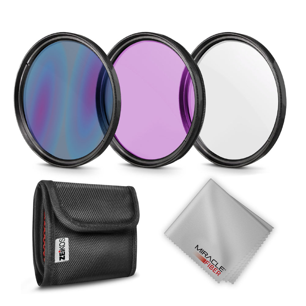 Zeikos 52MM Multi-Coated UV-CPL-FLD Professional Lens Filter Kit, Includes Miracle Fiber Cloth and Carry Pouch, Set for Nikon and Canon Lenses with a 52 MM Filter Size - iHip