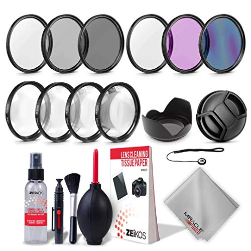 Zeikos 52MM Multi-Coated UV-CPL-FLD-ND2-ND4-ND8 Professional Lens Filter Kit, Macro Close-Up Filter Set (+1 +2 +4 +10), Lens Cap and Lens Cap Keeper with Pouch, 8-Pack Cleaning Kit, Microfiber Cloth - iHip