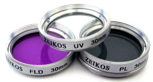 Zeikos 30mm 3 PC Glass Filter Kit (UV, CPL, FLD) For Sony PC-350 DCR-SR45 & Any Other 30mm Lens Camera