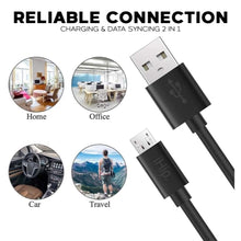Load image into Gallery viewer, iHip 6ft PVC Micro USB High-Speed Data and Charging Cable Black for Samsung Galaxy, Samsung Note, LG, Nexus, Nokia, PS4, Xbox One Controller