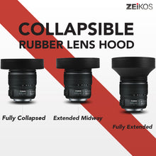 Load image into Gallery viewer, Zeikos 52MM Collapsible Rubber Lens Hood with 3 Stages for Camera Lens with 52MM Filter Thread, also includes a Miracle Fiber Microfiber Cloth - iHip