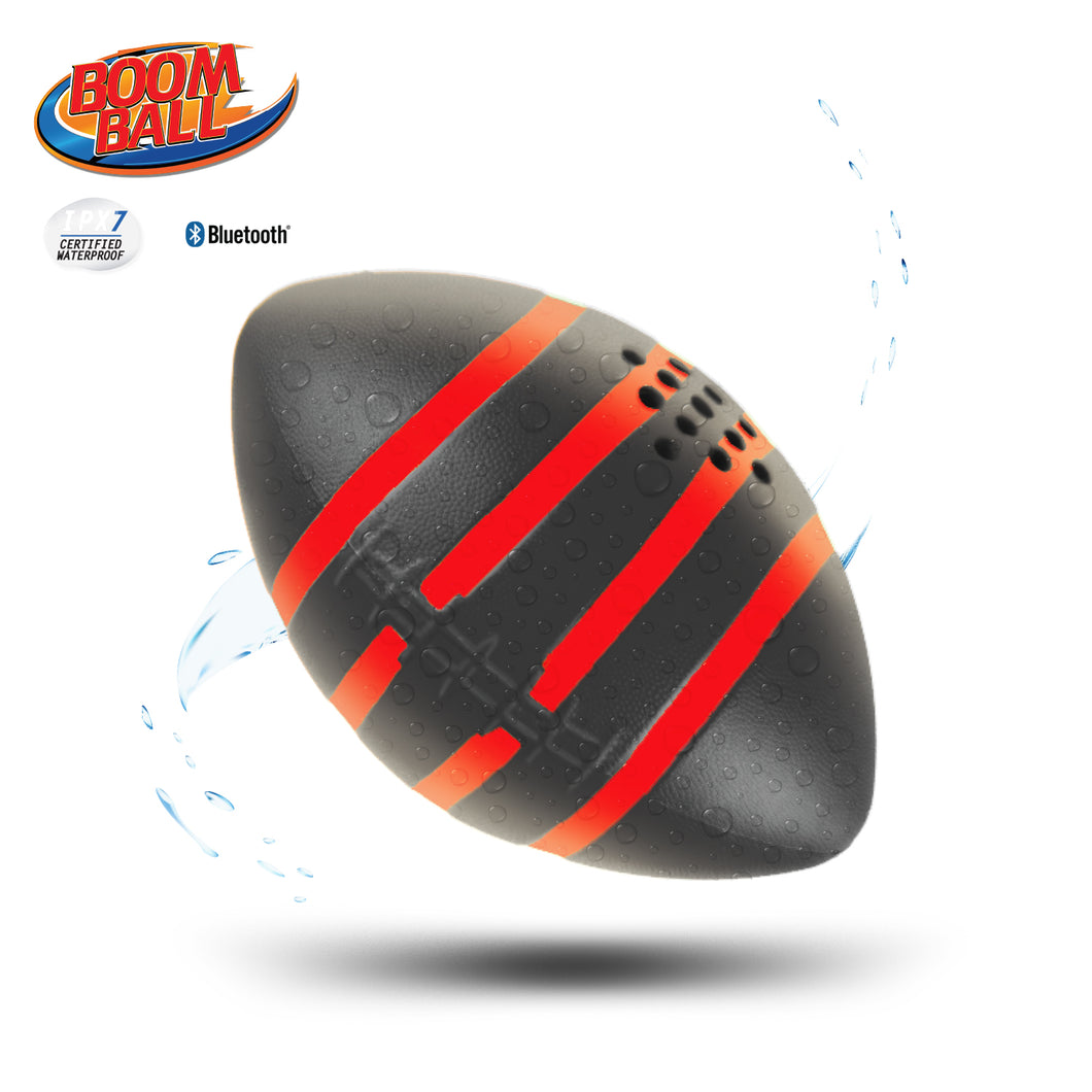 iHip Boomball Football Style Portable Outdoor Bluetooth 4.2 Speaker, Waterproof, Floatable, Shock Proof, Play and Listen to Music- Black Color