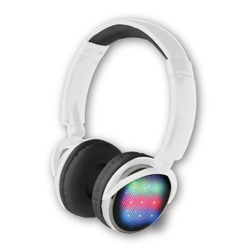 iHip Multicolor Flashing LED Wireless Light-Up Headphones Bluetooth 5.0V+EDR Extended Bass Advanced Quality Sound, Sweatproof Headsets Built-in Mic for Sport/Work/Running/Travel/Gym- White - iHip