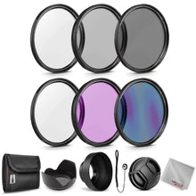 Load image into Gallery viewer, Zeikos 52MM Neutral Density Filter Set (ND2 ND4 ND8), Multi-Coated UV-CPL-FLD Filter Set, Tulip Flower, and Rubber Collapsible Lens Hood, Lens Cap and Lens Cap Keeper with Pouch and Microfiber Cloth - iHip