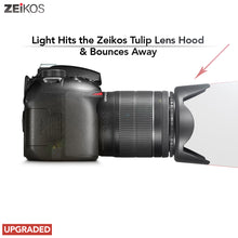 Load image into Gallery viewer, Zeikos 52MM Tulip Flower Lens Hood for Nikon, Canon, Sony, Sigma and Tamron Lenses, Comes with a Miracle Fiber Microfiber Cloth - iHip