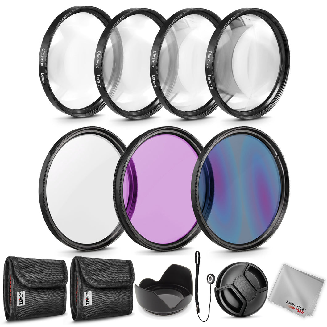 Zeikos 67MM Multi-Coated UV-CPL-FLD Professional Lens Filter Kit, Macro Close-Up Filter Set (+1 +2 +4 +10), Lens Cap and Lens Cap Keeper with Pouch and Microfiber Cloth - iHip