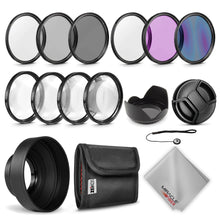 Load image into Gallery viewer, Zeikos 52MM Multi-Coated UV-CPL-FLD-ND2-ND4-ND8 Professional Lens Filter Kit, Macro Close-Up Filter Set (+1 +2 +4 +10), Lens Cap and Lens Cap Keeper with Pouch and Microfiber Cloth